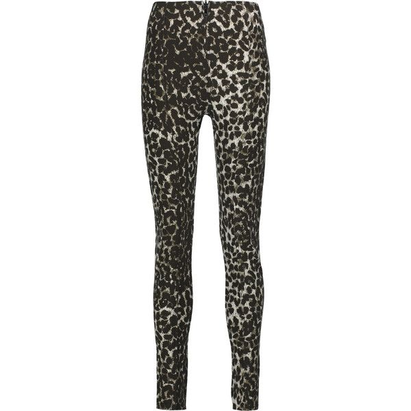Norma Kamali Leopard-print stretch-cady leggings ($120) ❤ liked on Polyvore featuring pants, leggings, leopard print, high-waisted pants, high waisted trousers, high-rise leggings, zipper pants and stretch pants