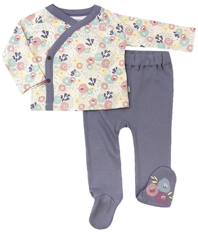 560b2d102b94 Wildflowers Organic Kimono Footed Pant Set