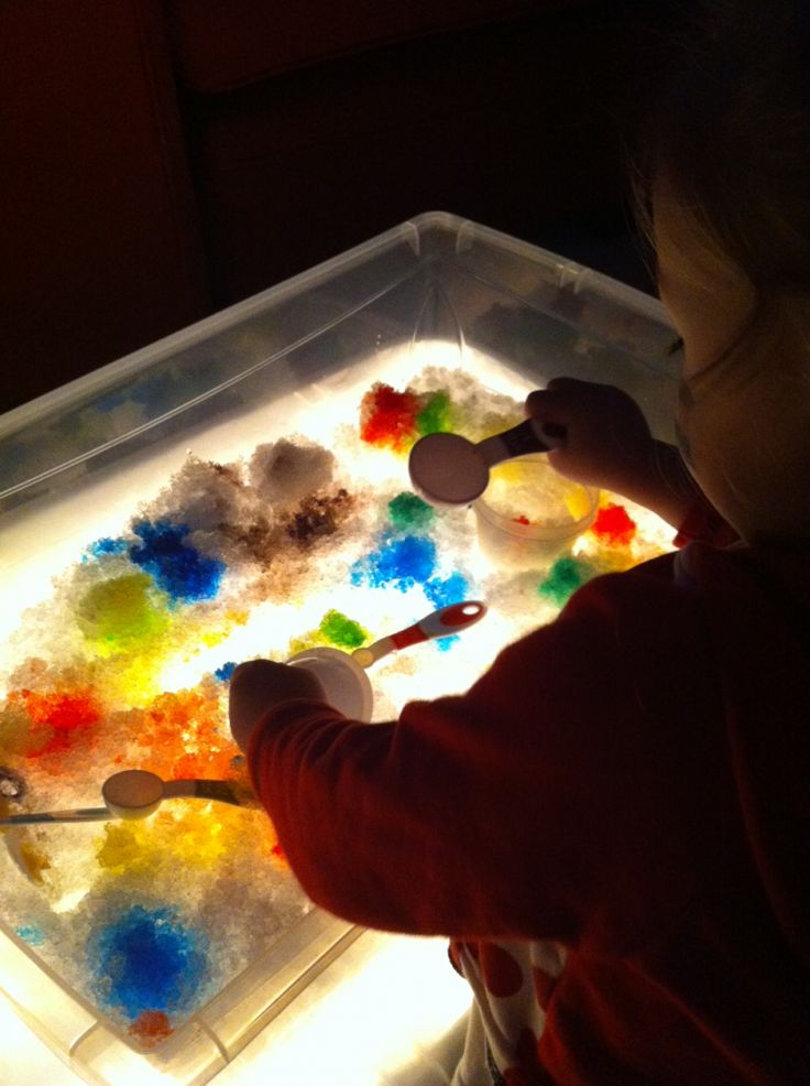 2 Easy Light Table Activities Involving Ice and Snow