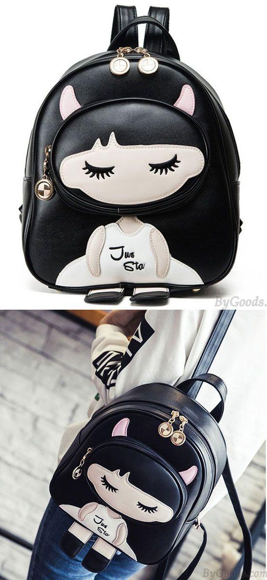 Cute PU Splicing Cartoon Close Eyes Girl Black Leisure School Backpack for big sale!#leisure #school #Backpack #girl #cute #cartoon