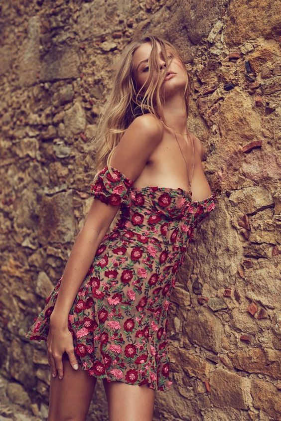 Amelia Strapless Mini Dress | For Love and Lemons | Covetboard Bohemian Fashion Lifestyle