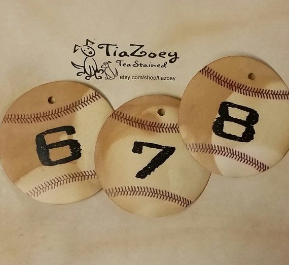 BASEBALL Theme TABLE NUMBERS 2 Inch Round Choose Your Quantity Table