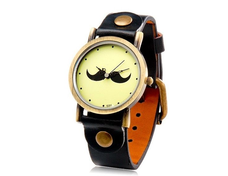 Black Cute Beard Pattern Water-proof Analog Watch with Faux Leather Strap Wrist Watches $6.9  #EOZY