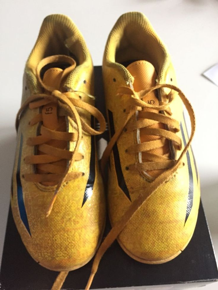 Adidas Messi Soccer Sneakers For Boys Size 2 Yellow With Laces  #adidas
