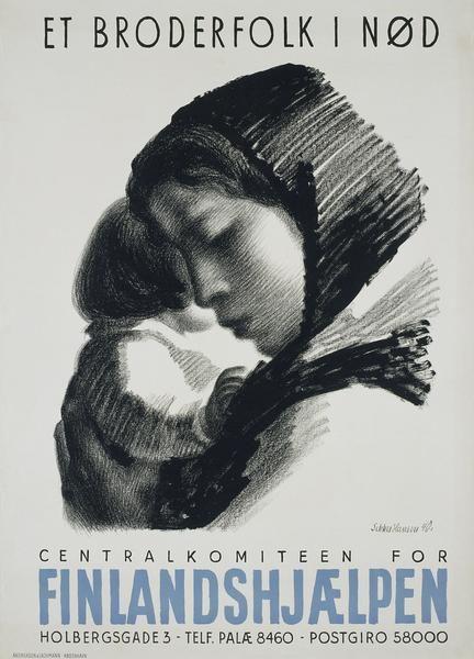 "Aage Sikker Hansen, poster. ""Help Finland"""