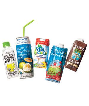 The Best Coconut Waters from Real Simple Magazine: Harmless Harvest 100% Raw Organic, Blue Monkey Pure w/ Pulp, Vita Coco w/ Peach & Mango, O.N.E. w/ Pink Guava, and Coco Cafe Mocha.