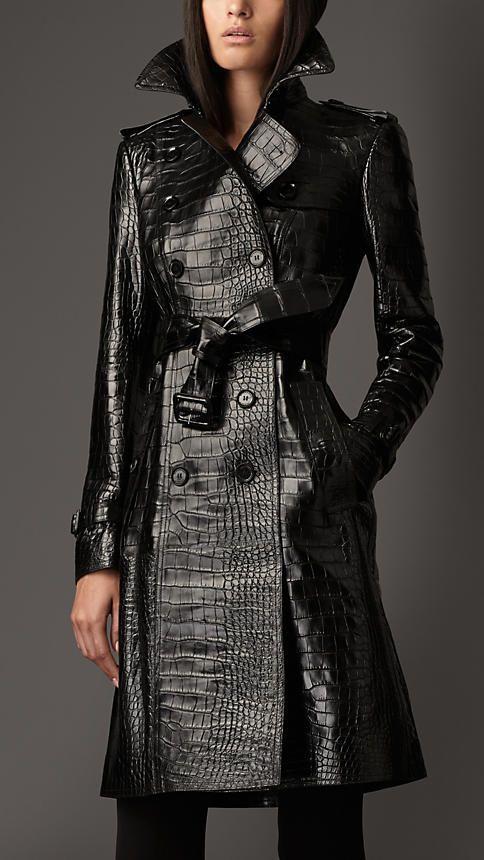 Burberry High Gloss Faux Leather Crocodile Print Long