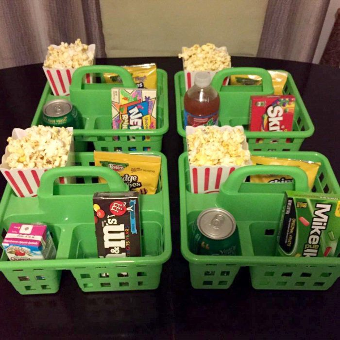 http://www.onecrazyhouse.com/  Making family movie night fun with a shower caddy snack tray. No spills no fights over popcorn