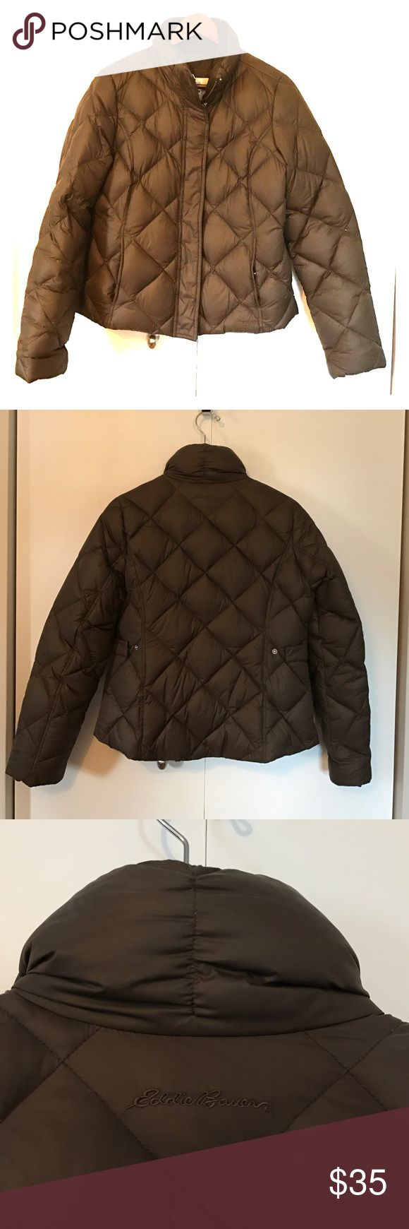 Warm! Eddie Bauer goose down coat in chocolate brn Fabulously warm goose down coat with 700 fill power. Like new! 24 in from shoulder to hem. Eddie Bauer Jackets & Coats Puffers