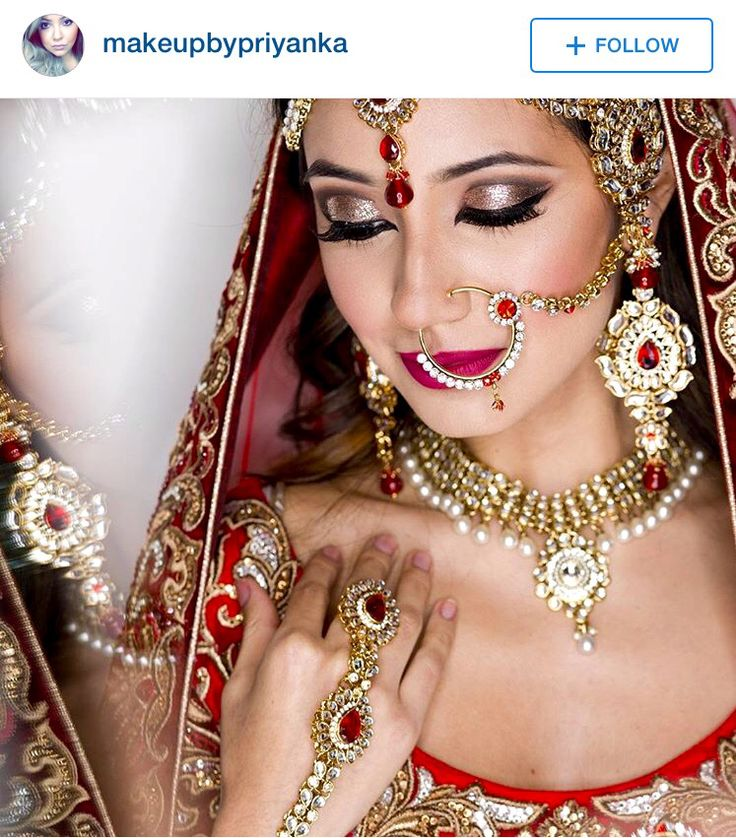 Such pretty makeup for a red  lehnga