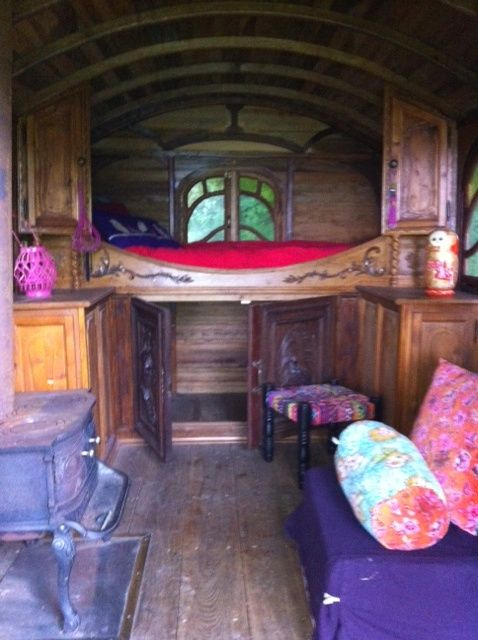 inside gipsy wagon