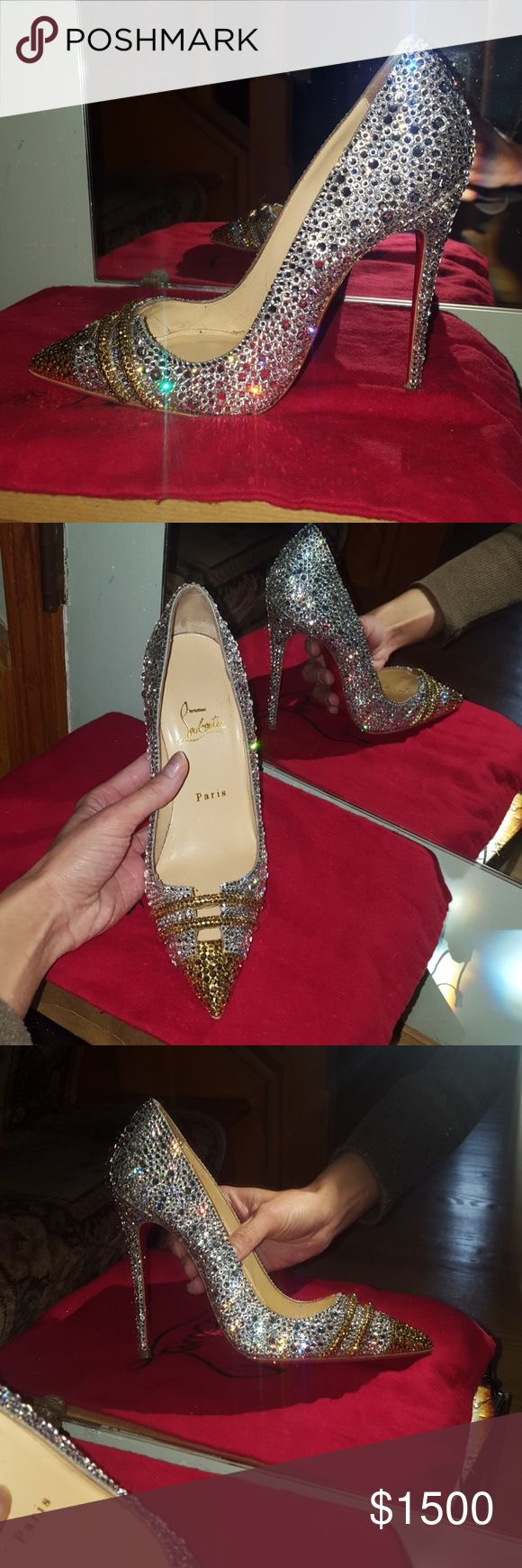Christian louboutin so Kate specchio strass 120mm 💯Authentic Swarovski Crystal clear with aurum crystal (which is 24k gold).size 37.. Excellent condition,price is firm here on posh!! Only worn twice!! Red bottom sole protection has been installed!! No crystal missing!! No box but I do have both dust bags and can provide a louboutin box. Due to the rarity of these heels I will not accept offers🚫🚫🚫!! Posh concierge will approve !😀😀😀😀🙌🙌🙌🚫NO TRADES! Christian Louboutin Shoes Heels