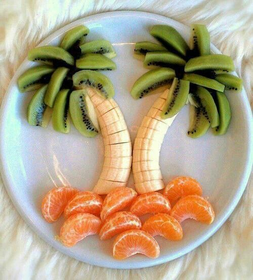 Tropical fruit plate - kiwi, banana, sm oranges arranged to make palm trees - great for a luau themed party or fussy kids. Description from pinterest.com. I searched for this on bing.com/images
