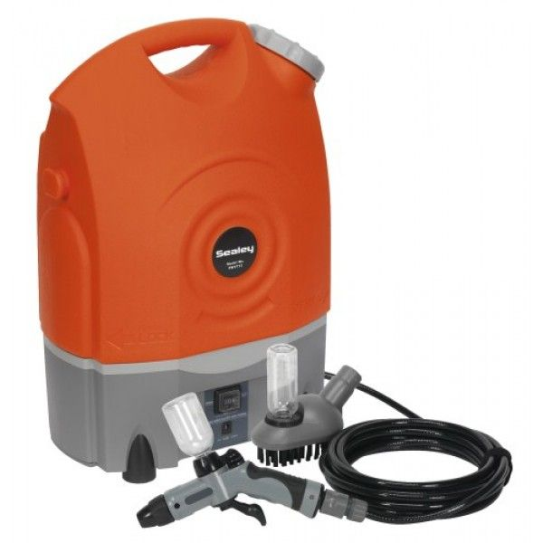 Lightweight, portable cordless pressure washer. Ideal for a range of domestic applications including cleaning vehicles, motorcycles and bicycles. Features 17ltr water tank which can be detached from base for easy re-filling. Unit can be powered using vehicle's 12V socket, but is also fitted with a rechargeable lead acid battery which provides up to 40 minutes of continuous use. Ideal pressure washer where no mains electric supply is available, such as classic car shows and track days.