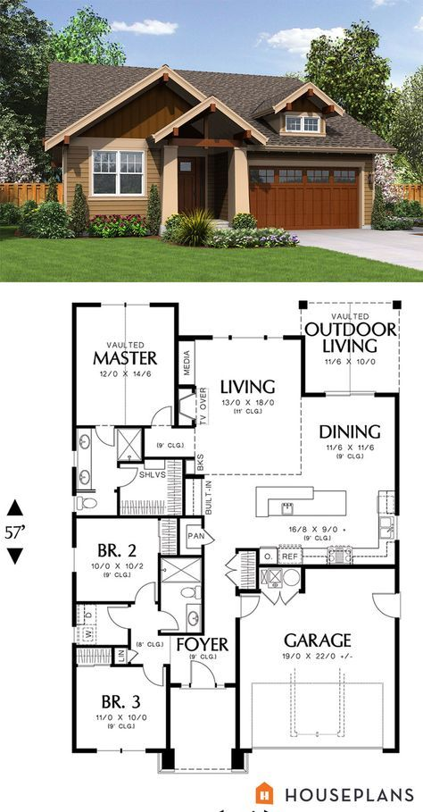Vaca Home 1500 Sft Cozy Craftsman Cottage Plan.