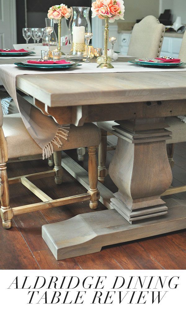 Want a Restoration Hardware style dining table? This blogger found the aldridge dining table that shaves $1500+ off the RH price. Full review and details at monicawantsit.com
