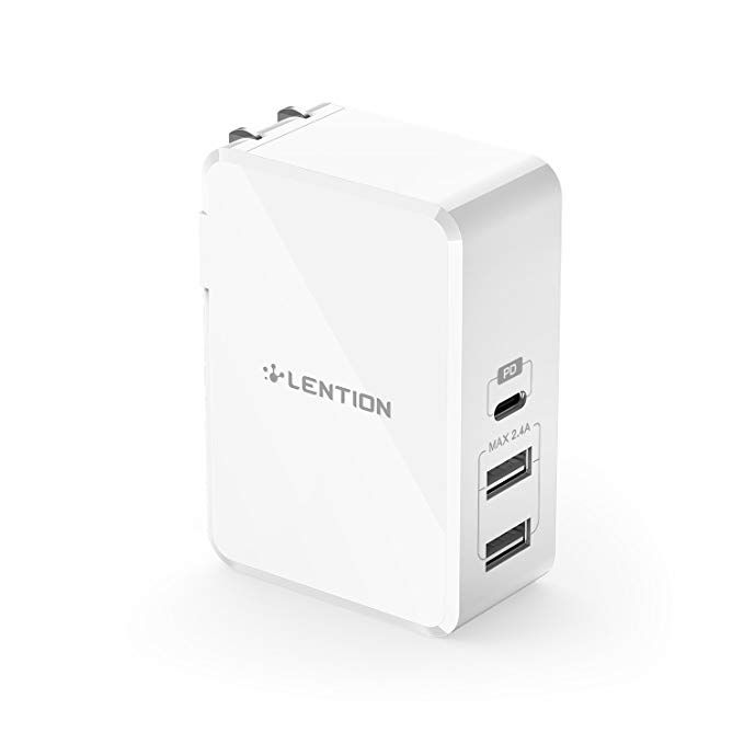 Power Delivery 30W Type-C /& QC3.0 USB Wall Charger Power Adapter for MacBook iPhone Xs Max//XR// 8 Plus LG G6 and More Pixel 2 XL USB-C PD Charger Nexus 5X 6P Samsung S9// S8// Note 9// Note8