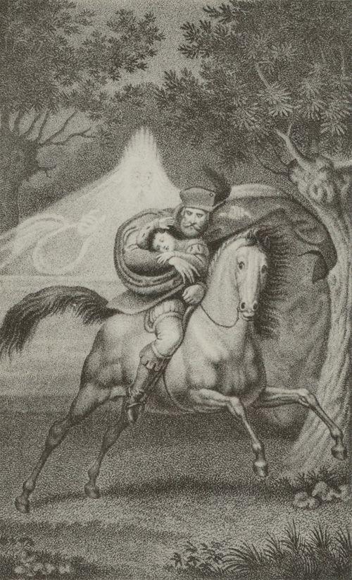 Goethe, Erlkönig. Wer reitet so spät durch Nacht und Wind. Stich von Gustav Heinrich Naeke