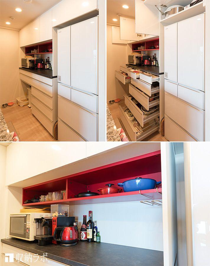 オーダーメイドした食器棚の 赤い収納棚がお気に入り 壁面収納