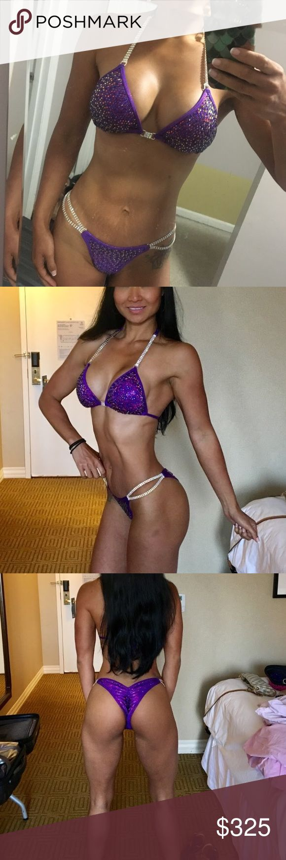 New purple competition bikini  New competition bikini. Only tried in never worn on stage. Top fits up to C cup and bottoms size small pro cut. Brand is Katkinis. Fully blinged out Swim Bikinis