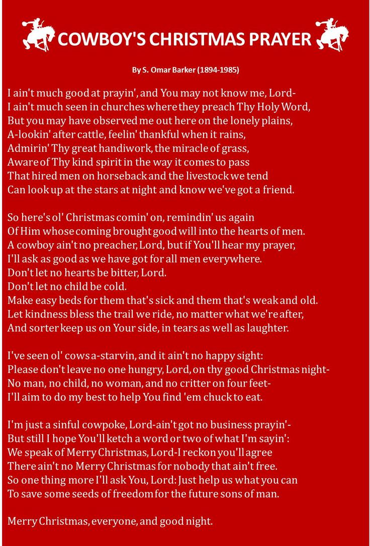 Cowboy Christmas Prayer, so making this into a sign:)