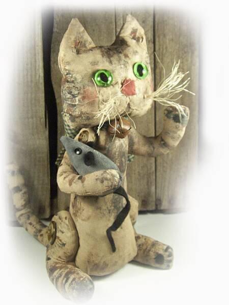 Hand painted muslin folk-art kitty.