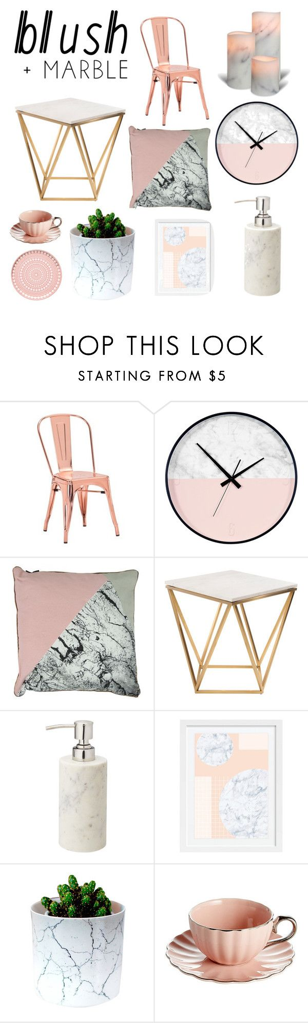 """""""Blush + Marble"""" by thelivesoftruefangirls ❤ liked on Polyvore featuring interior, interiors, interior design, home, home decor, interior decorating, Zuo, Nuevo, iittala and homedecor"""