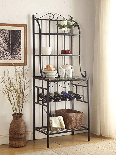 Finish: Black and Faux Marble  Material: Metal and Hardwood/MDF  Features 5-tier of Faux marble and Metal Shelves with 5 Wine Bottle Rack