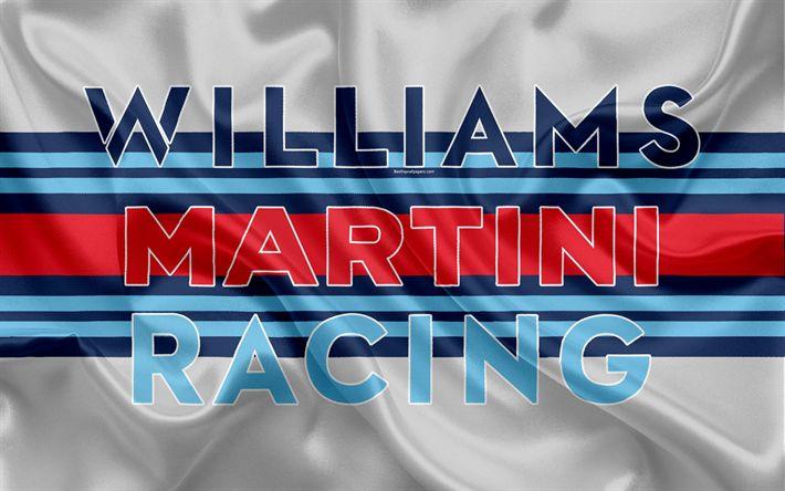 Download imagens Williams Martini Racing, Williams F1, 4k, racing team, Fórmula 1, Williams logotipo, F1, de seda vermelha da bandeira, desporto motorizado, Equipe britânica