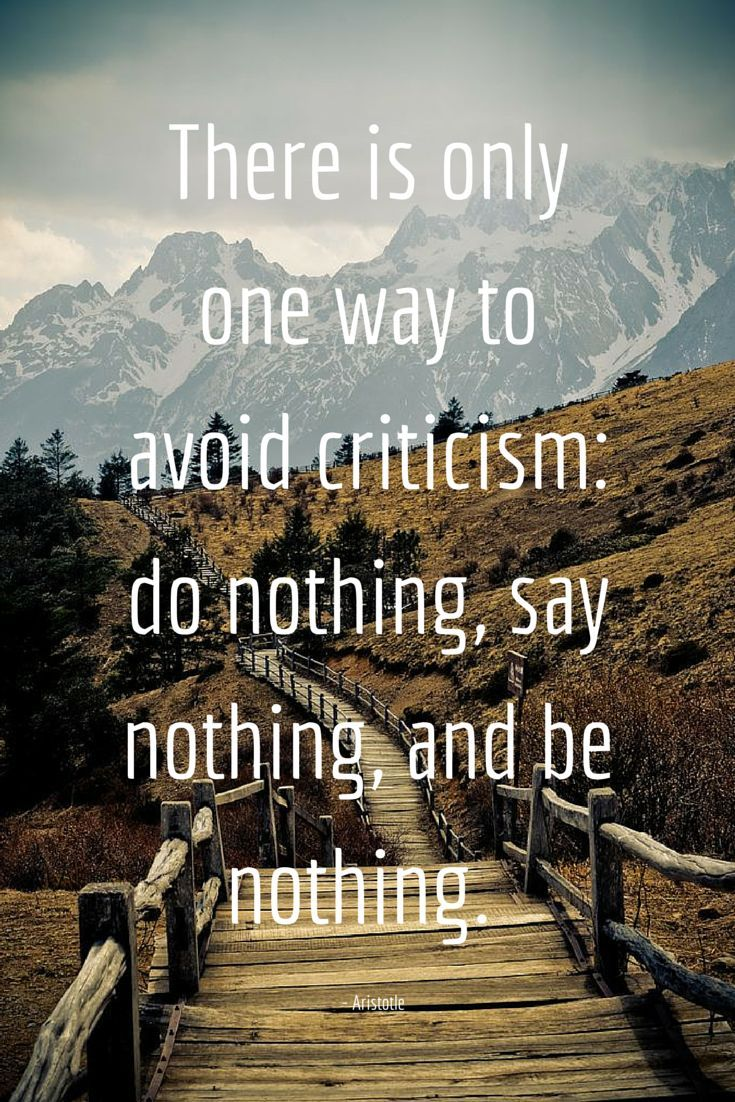 There is only one way to avoid criticism do nothing