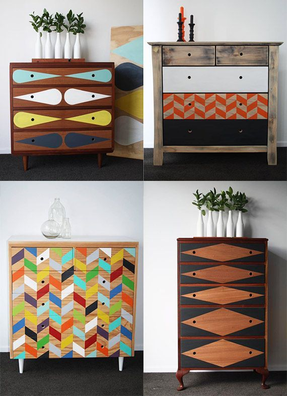 relooker vos vieux meubles en bois avec de la peinture pastelle et des formes geometriques diy deco pinterest mobilier de salon meuble et relooker