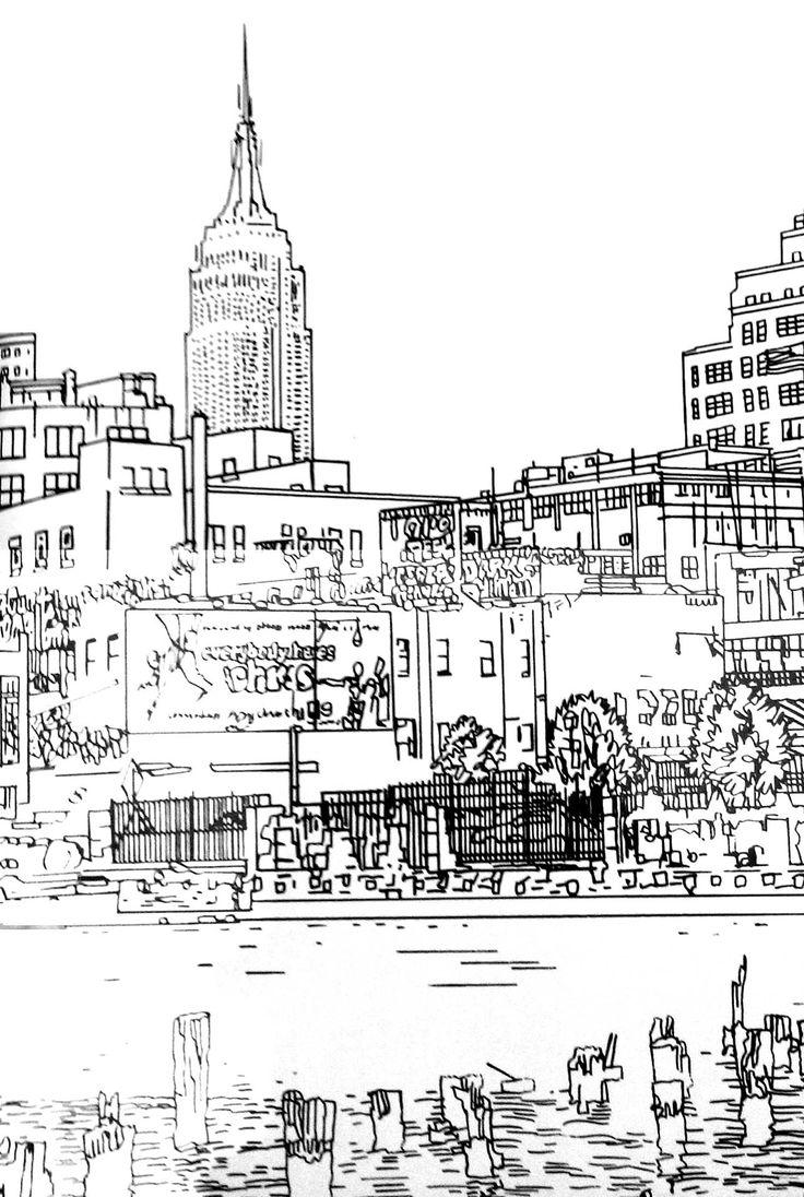 Galerie de coloriages gratuits coloriage-adulte-dessin-new-york. Joli dessin de New York : traits et lignes simples, mais nombreux détails à colorier