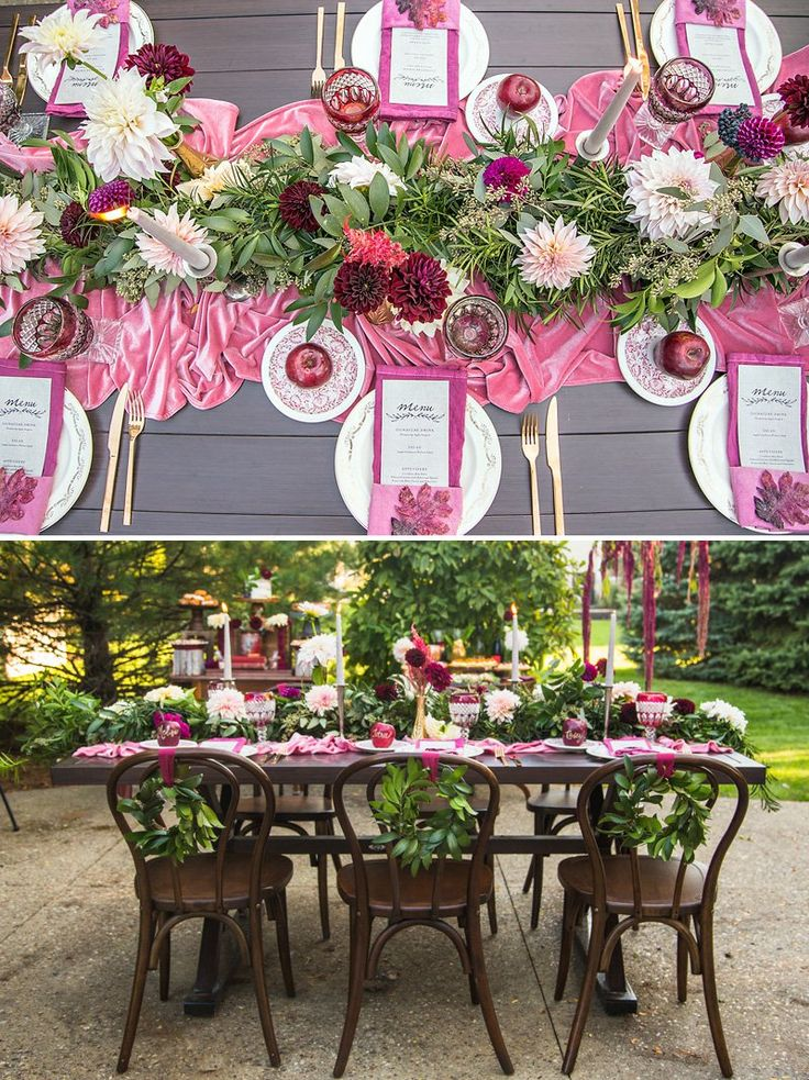 Glam Wine and Blush Tablescape