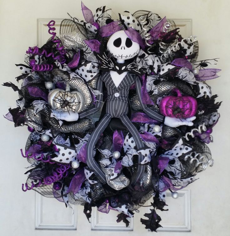 "Large 28"" Purple Jack Skellington NBC Nightmare Before Christmas Halloween Wreath. Fun, fluffy and full Jack Skellington wreath! Wouldn't this make the perfect gift for a die hard Nightmare Before Christmas fan?? If you're looking for the perfect birthday, wedding, housewarming or just because gift for someone special (that includes yourself!) that loves all things Jack, then I think you may have just found it. This is one of my best selling Halloween wreaths, so please note that the..."