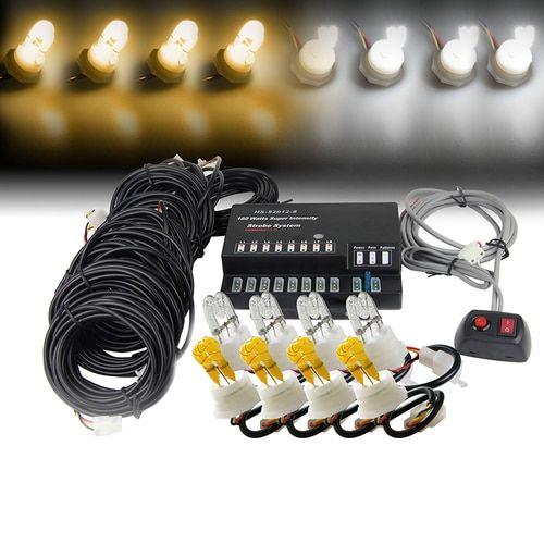Xprite Amber/White 160W 8 HID Bulbs Hide-A-Way Strobe Lights