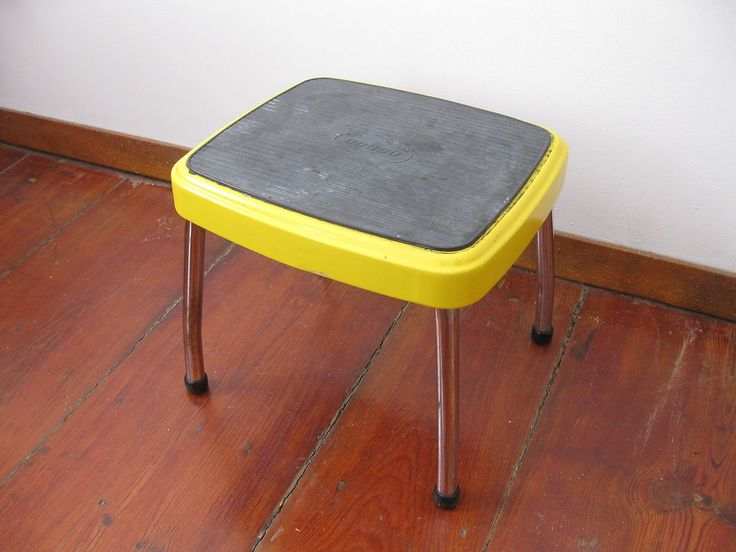 vintage mid century yellow metal cosco step stool industrial household kitchen