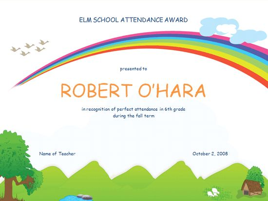 9 best kindergarten achievement certificate images on Pinterest - free perfect attendance certificate template