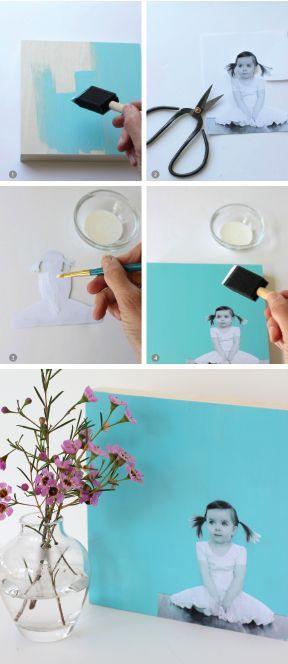 DIY :: Quadro Decorativo - Madeira colorida + Foto Impressa em Preto e Branco