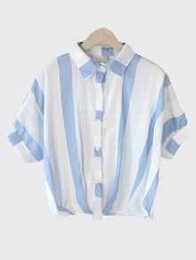 Vertical Striped Dolman Sleeve Blouse - Blue