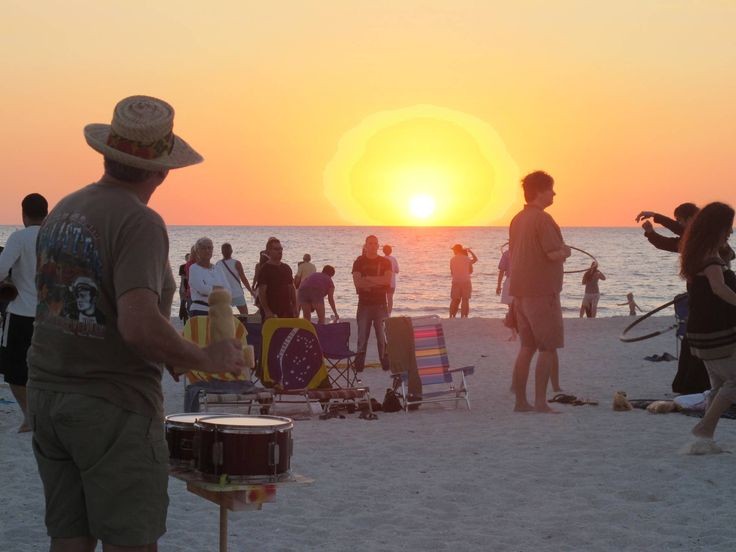 Treasure Island Drum Circle - held every Sunday night on the beach in Treasure Island, Florida. Locals & tourists gather to hear the mesmerizing beat of various drums. You can bring your own drum or percussion instrument of any type and join in, or just watch and listen.  Starts around 6:00 or 7:00 p.m. and ends at sunset.  Very cool!