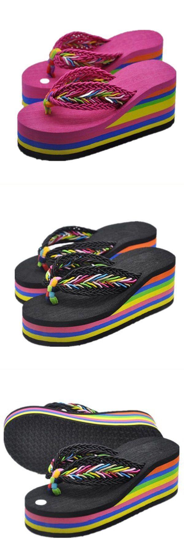 Women fashion wedge platform slippers hight heel rainbow flip flops beach sandals  sandals trips #cm #paris #sandals #no #6 #sandals #sandals #07 #sandals #us
