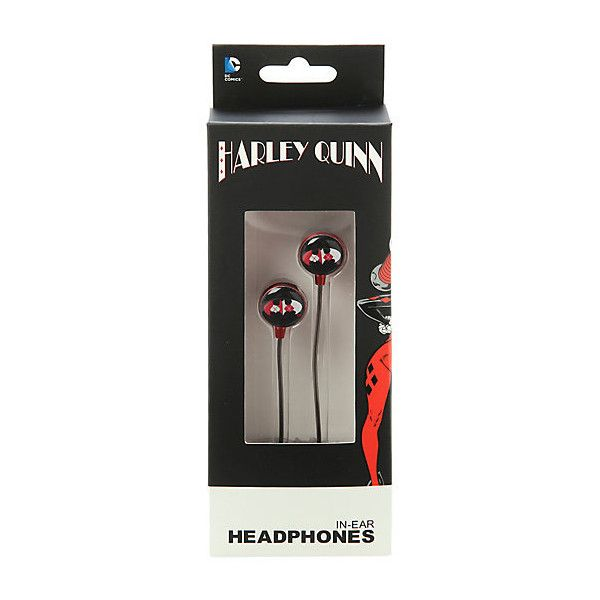 DC Comics Batman Harley Quinn Logo Earbuds | Hot Topic ($13) ❤ liked on Polyvore featuring accessories, tech accessories et earphones earbuds