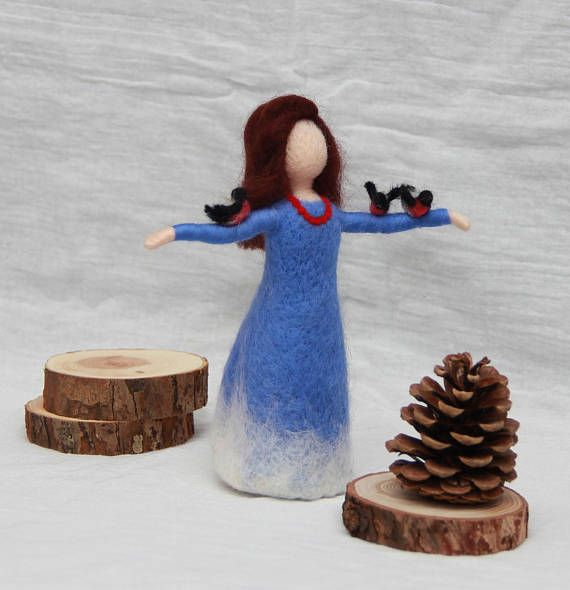 Needle felted Winter Fairy Waldorf Fairy doll wool fairy