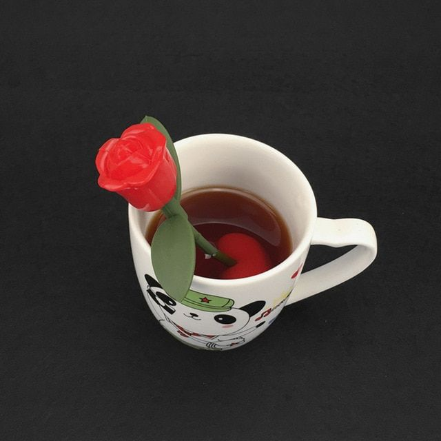 Reuseable Safe Silicone Rose Flower Tea Bag Strainer Coffee Punch