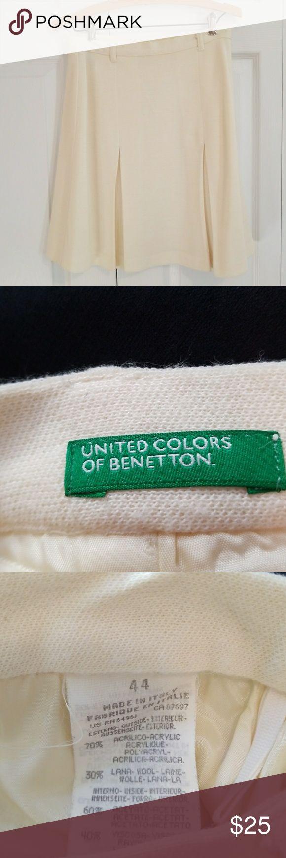 Cream Wool Blend Skirt School girl chic United Colors Of Benetton Skirts Midi