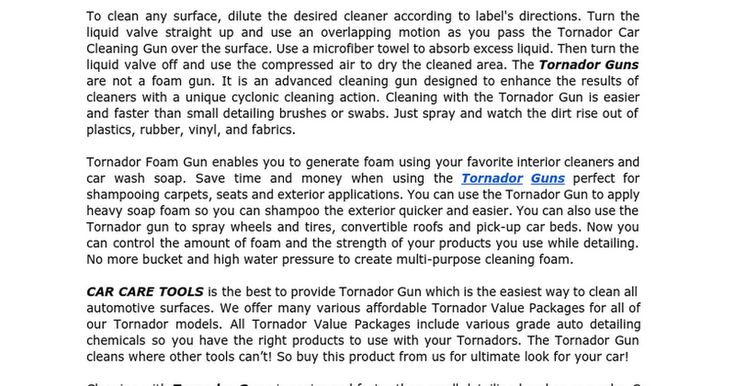 The #TornadorGuns are not a foam gun. It is an advanced cleaning gun designed to enhance the results of cleaners with a unique cyclonic cleaning action. https://docs.google.com/document/d/1C3KEAHNP0rixnQ5B8YfN-HppqvHqu0RIlroOEOBI_bM/edit?pli=1