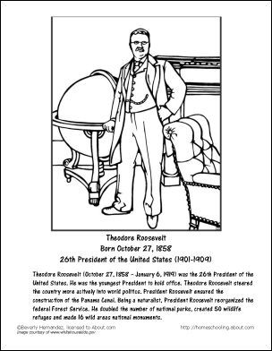 Theodore Roosevelt Worksheets and Coloring Pages: Theodore Roosevelt Coloring Page