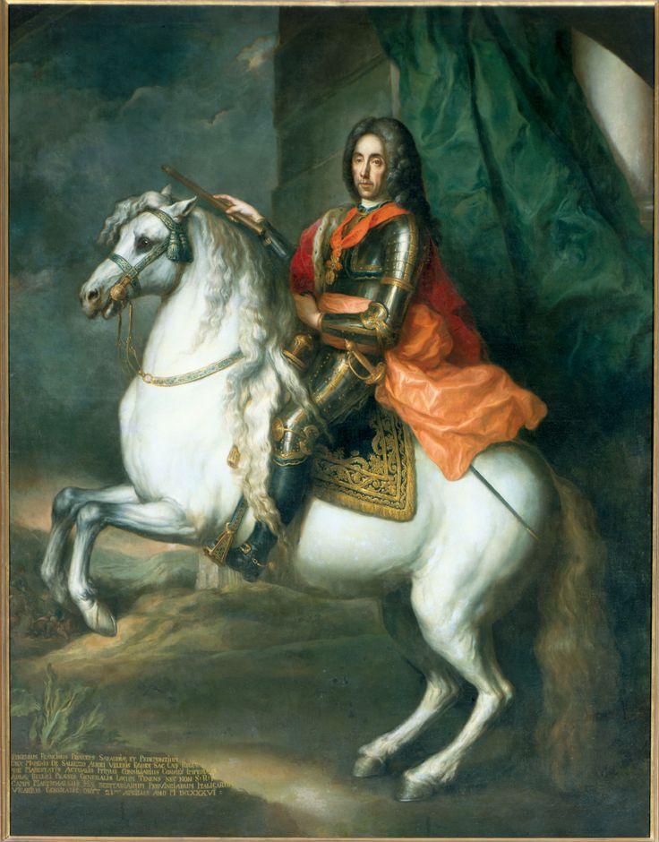 Prinz #Eugen (Eugen Franz, Prinz von Savoyen-Carignan, 18.10.1663 Paris - 21.4.1736 Wien) war einer der berühmtesten Feldherren des Hauses Österreich und wesentliche Stütze der Großmachtstellung Österreichs innerhalb Europas. Ab 1697 Oberbefehlshaber im Großen Türkenkrieg. Während des Spanischen Erbfolgekrieges  einer der Oberkommandierender der antifranzösischen Alliierten. Daneben war er Hofkriegsratspräsident, Diplomat, Mäzen, Kunstsammler und übte weitere hohe Staatsämter aus.