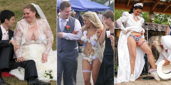 Une robe de mariée vraiment très très décolletée  Ils se sont dit oui pour le meilleur et pour le pire. Voici sans doute un petit aperçu du pire... Ces mariées-là avaient mis le paquet pour la plus belle le jour J. Le résultat est plus ou moins réussi. Zoom en images sur quelques-unes des pires robes de mariée au monde !