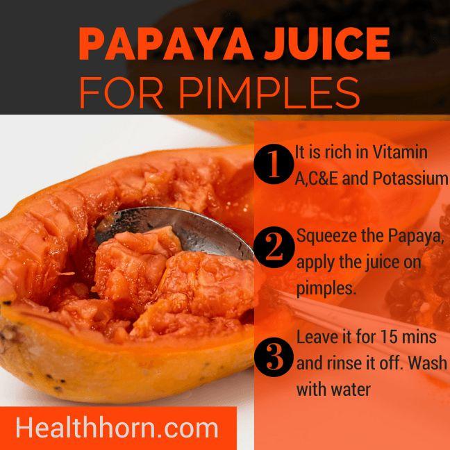 papaya juice to get rid of pimples fast